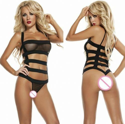 Womens Lingerie Sexy Strappy Mesh Role Play Pole Dance Stripper Dominatrix